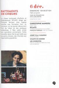 Les ECLATS chantent le spectacle BATTEMENTS DE CHOEURS à la Halle aux Grains avec l'Orchestre National du Capitole de Toulouse le dimanche 6 décembre 2020 !